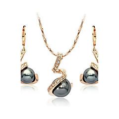 billige Smykke Sett-Dame Krystall Smykkesett - Perle, Krystall, Imitert Perle damer Inkludere Grå Til Bryllup Fest Daglig Avslappet / Kubisk Zirkonium / Sorte perle