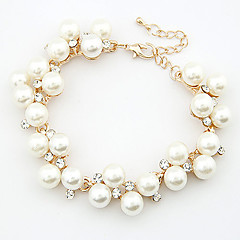 cheap -Women's Chain Bracelet Charm Bracelet Cute Party Casual Elegant Fashion Pearl Imitation Pearl Rhinestone Alloy Jewelry Jewelry Wedding