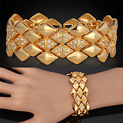 cheap -U7® Big Bracelets 18K Yellow Gold Plated Austrian SWA Rhinestone Fashion Jewelry Bangles  For Women/Men Gifts