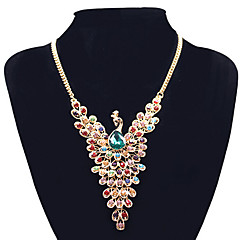 cheap Necklaces-Women's Rhinestone Pendant Necklace Statement Necklace - Statement European Peacock Screen Color Necklace For