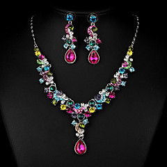 Women's Cubic Zirconia Rhinestone Wedding Party Special Occasion Anniversary Engagement Cubic Zirconia Rhinestone Alloy Earrings Necklaces