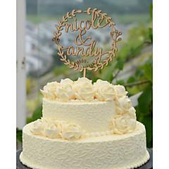 billige Kakedekorasjoner-Kakepynt Personalisert Klassisk Par Hjerter Kort Papir Bryllup Jubileum Utdrikkingslag Gul 1 Polyester Veske