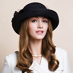 cheap Party Hats-Wool Hats Headwear with Floral 1pc Wedding Special Occasion Casual Office & Career Outdoor Headpiece