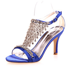 Kadın Ayakkabı Saten Bahar Yaz Sonbahar Stiletto Topuk Düğün Parti ve Gece için Gümüş Mor Kırmzı Mavi Kristal