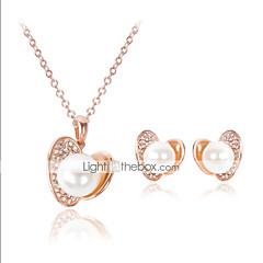 tanie Zestawy biżuterii-Damskie Perłowy Cyrkonia Imitacja diamentu Pokryte różowym złotem Biżuteria Ustaw Náušnice Naszyjniki - Luksusowy Urocza Imprezowa Miłość
