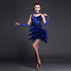 cheap Dancewear & Dance Shoes-Latin Dance Dresses Women's Performance Polyester / Lycra Sequin / Tier / Split Front Short Sleeves / Sleeveless High Sexy Global Gals Dress / Gloves / Neckwear