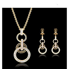 Jewelry Set Vintage Cute Party Work European Cubic Zirconia Gold Plated 18K gold Necklace Earrings