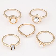 お買い得  ファッションリング-指輪 女性用 人造真珠 合金 合金 8 ゴールド / ブラック / 銀