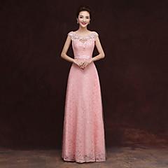 ieftine -Coloană / Teacă Scoateți gâtul Lungime Podea Tulle Rochie Domnișoară Onoare cu Aplică de Embroidered Bridal