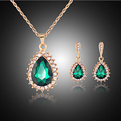 Jewelry Set Cute Party Cute Style Party Gemstone & Crystal Synthetic Gemstones Rhinestone Rose Gold Plated Alloy Drop Necklace Earrings
