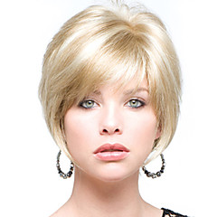 cheap Wigs & Hair Pieces-Perfect Short Straight Human Virgin Remy Hand Tied Top Female Capless Hair Wig