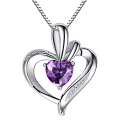 Fashion Purple 925 Sterling Silver  Wedding Party LOVE Pendant Necklaces For woman
