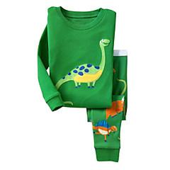 Χαμηλού Κόστους Sweet Fall Time-Παιδικά Σετ Ρούχων Βαμβάκι Καθημερινά Εξόδου Αργίες Άνοιξη Φθινόπωρο Μακρυμάνικο Κινούμενα σχέδια Πράσινο του τριφυλλιού