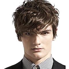 billiga Peruker och hårförlängning-Syntetiska peruker Vågigt Med lugg Syntetiskt hår Sidodel Brun Peruk Herr / Dam Korta Utan lock
