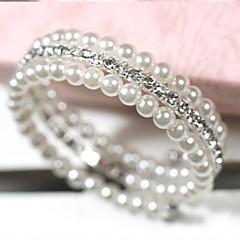 billige -Dame Lag-på-lag Sjal Armbånd - Perle, Imitert Perle, Strass Multi Layer Armbånd Hvit Til Daglig / Avslappet / Fuskediamant
