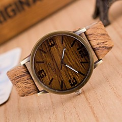 cheap Men's Watches-Men's Quartz Wrist Watch Casual Watch PU Band Charm Wood Brown Grey