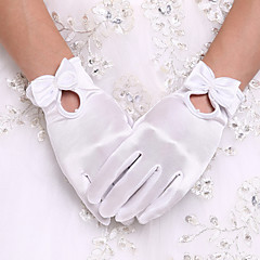cheap Party Gloves-Spandex Wrist Length Glove Bridal Gloves Party/ Evening Gloves With Bowknot Pearl