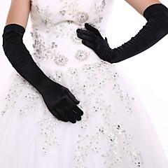 Stretchsatijn spandex Fabric Operalengte Handschoen Bruidshandschoenen Feest/uitgaanshandschoenen With Geplooid