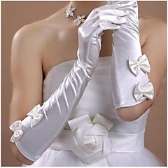 voordelige Handschoenen voor feesten-Satijn Katoen Polslengte Ellebooglengte Handschoen Amulet Stijlvol Bruidshandschoenen With Borduurwerk Effen