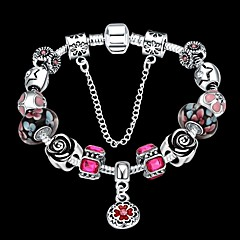 cheap -Lucky Doll Vintage  Silver Plated Gemstone & Crystal / Cubic Zirconia Link/Chain / Beaded / Charm Bracelet