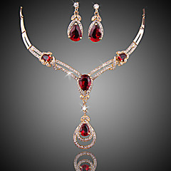cheap Jewelry Sets-Women's Red Crystal Synthetic Ruby Jewelry Set - Zircon, Cubic Zirconia, Gold Plated Drop Ladies, Luxury, Fashion Include Drop Earrings Pendant Necklace Red For Wedding Party Special Occasion / Gift