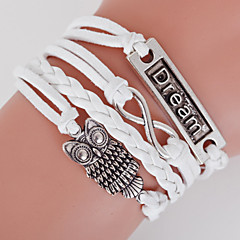 billige -Herre Dame Wrap Armbånd loom Armbånd Dobbeltlags Boheme Stil Justérbar Legering Geometrisk form Anker Ugle Kærlighed Smykker Til Daglig