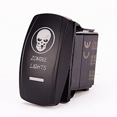 Iztoss Laser Blue ON-OFF Rocker Switch w/ Jumper Wire 5Pin 20 Amp 12 Volt LED Lights - ZOMBIE LIGHTS