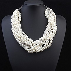 cheap Necklaces-Women's Pearl Statement Necklace - Pearl Cross Statement, Luxury White Necklace Jewelry For Wedding, Party, Special Occasion