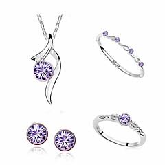 baratos Conjuntos de Bijuteria-Mulheres Conjunto de jóias - Cruz Incluir Roxo / Vermelho / Rosa claro Para Diário Casual / Anéis / Brincos / Colares / Bracelete