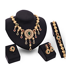 cheap Jewelry Sets-Jewelry Set Vintage Cute Party Work Casual Link/Chain Statement Jewelry Fashion Party Cubic Zirconia Gold Plated 18K gold Alloy Bracelet