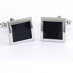 Black Silver Smooth Mens Cuff Links Party Shirt Cufflinks Wedding