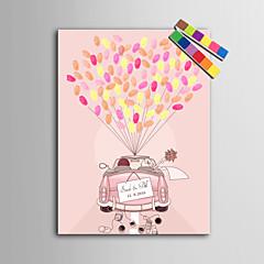 E-HOME® Personalized Fingerprint Painting Canvas Prints - Wedding Car (Includes 12 Ink FColors)