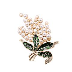 Dame Perle Imitert Perle Strass Emalje imitasjon Diamond Legering Gylden Smykker Bryllup Fest Daglig Avslappet
