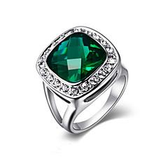 billige Motering-Dame Krystall / Syntetisk Smaragd Cluster Statement Ring - Legering Mote En størrelse Sølv / Gylden Til Fest