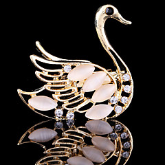 billige Motebrosjer-kvinners krystall svane dyr brosje for bryllupsfesten dekorasjon skjerf, fine smykker, tilfeldig farge
