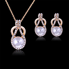 Lucky Doll Women's Vintage Rose Gold Plated Imitation Pearl Rhinestone Necklace & Earrings Jewelry Sets