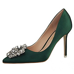 cheap Women's Heels-Women's Satin Spring / Summer Comfort / Basic Pump Heels Stiletto Heel Pointed Toe / Closed Toe Rhinestone Green / Pink / Nude / Wedding / 3-4 / Party & Evening