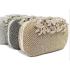 お買い得  Beaded Evening Bags-女性 バッグ オールシーズン ポリエステル イブニングバッグ クリスタル/ラインストーン のために 結婚式 イベント/パーティー フォーマル ゴールド ブラック シルバー