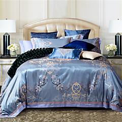 100% katoen& zijde blauwe rome stijl jacquard dekbedovertrek set 4 stuks full queen size