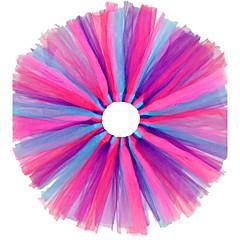 お買い得  女児 スカート-女の子の 祝日 カラーブロック コットン ポリエステル ドレス 春 夏 秋 パール オレンジ ブルー ライトブルー