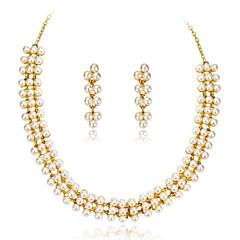 tanie Zestawy biżuterii-Damskie Różowe złoto Perłowy Biżuteria Ustaw Náušnice Naszyjniki - Imprezowa Do biura White Zestawy biżuterii Na Impreza