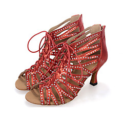 Mulheres Sapatos de Salsa Sintéticos Salto / Têni Fru-Fru / Ziper Salto Carretel Personalizável Sapatos de Dança Preto / Vermelho / Prateado / Espetáculo / Couro