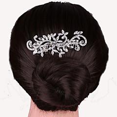 pentes de cabelo de cristal pérola prata para a jóia da festa de casamento da senhora
