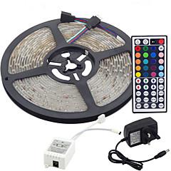 baratos Iluminação Decorativa-5m Faixas de Luzes LED Flexíveis / Conjuntos de Luzes / Faixas de Luzes RGB LEDs 3528 SMD RGB Controlo Remoto / Cortável / Regulável 100-240 V / Conetável / Auto-Adesivo / Cores Variáveis / IP44