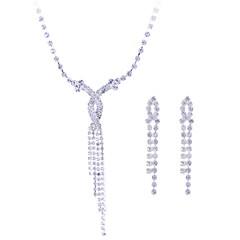tanie Zestawy biżuterii-Damskie Zestawy biżuterii Naszyjnik / Kolczyki Syntetyczne kamienie szlachetne Srebro standardowe Cyrkon Srebrny Imitacja diamentu Ślub