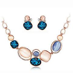 baratos Conjuntos de Bijuteria-Mulheres Opala / Opal Synthetic Conjunto de jóias - Strass, Prata Chapeada, Opala Incluir Colar / Brincos Azul Real Para Festa / Diário / Colares
