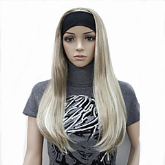 cheap Wigs & Hair Pieces-half wig 3 4 wigs with headband long straight blonde synthetic hair wig many colors for you choose