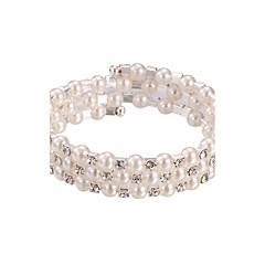 cheap Bracelets-Three Layer Pearl Crystal No Clasp Elastic Bangle Bracelet Jewelry (One Size for All)