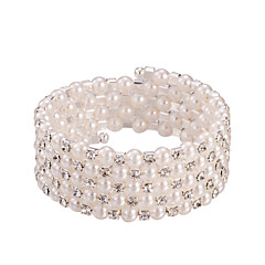 Five Layer Pearl Crystal No Clasp Elastic Bangle Bracelet Jewelry (One Size for All)