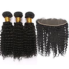 ieftine Un pachet de păr-Păr Mongol Kinky Curly / Curly Weave Bătătură de par cu închidere Umane Țesăturile de par Negru Umane extensii de par